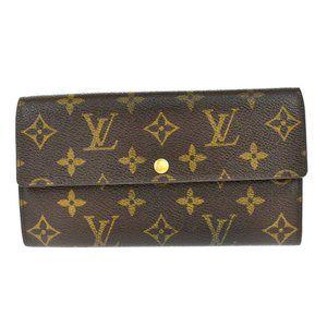 Auth LOUIS VUITTON Porte Monnaie Credit Bifold Wallet Monogram Leather